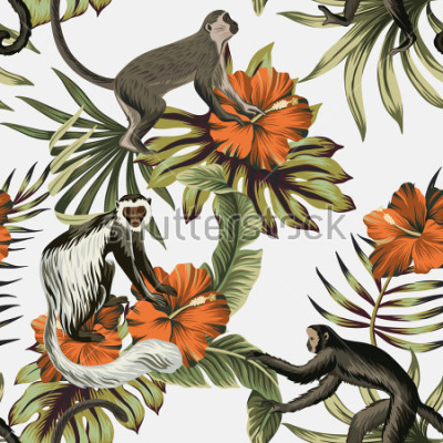 Nálepka Tropical vintage monkey, red hibiscus flower, palm leaves floral seamless pattern white background. Exotic jungle wallpaper.