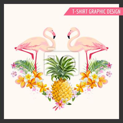 Nálepka Tropické Květiny a Flamingo Grafický design - pro t-shirt, móda