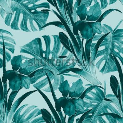 Nálepka Tropický vzor bezešvé s iris květy a exotickými listy. Vodové barvy. Ruční malování.
