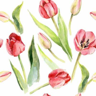 Nálepka tulipány květina akvarel vzor ilustrace textilní tisk
