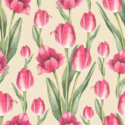 Nálepka Tulipány květiny ilustrace. Akvarel bezproblémové vzorek
