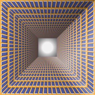Nálepka Tunel s pestrými stěnami. Abstraktní pozadí s optickou iluzi pohybu.