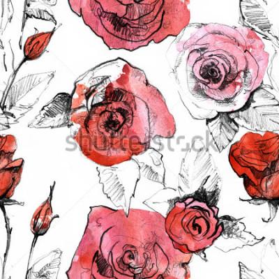Nálepka Tužka, akvarel citlivé realistické červené růže květ vyhovující vzorek. Botanické umění malování ilustrace. Vintage design pro sketchbook, cestovní knížku, pohlednici, pohlednici, pozvánku,