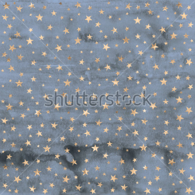 Nálepka Twinkle star pattern in rose gold metallic foil overlaid on denim blue hand painted watercolor texture.