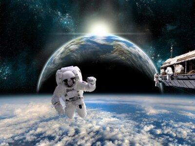 Nálepka Tým astronautů pracovat na vesmírné stanici - Prvky tohoto obrázku zařízený NASA.