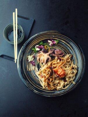 Nálepka Udon nudle s lososem a chobotnice