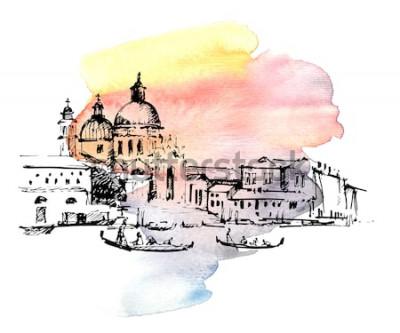 Nálepka Ulice v Benátkách s gondolou, Itálie. Ručně tažené skica na barevné akvarel zázemí.