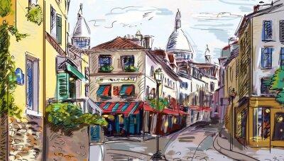 Nálepka Ulice v Paříži - ilustrace