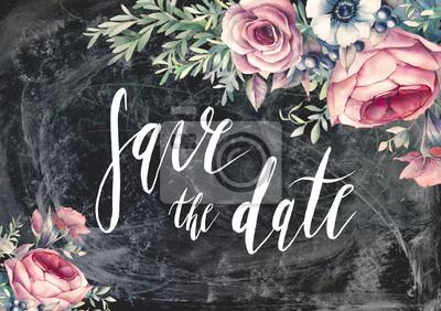 Uložení nápis datum kartáče. Ručně malované Vintage styl svatební přání s květinovými kompozicemi na křídu palubě. Akvarel květiny na tmavém pozadí. Pivoňky, růže, sasanky, větve a bobule