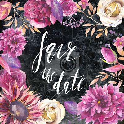 Uložení nápis datum kartáče. Ručně malované Vintage styl svatební přání s květinovými kompozicemi na křídu palubě. Akvarel různé květiny na tmavém pozadí.
