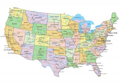 Nálepka United States of America - Highly detailed editable political map with labeling.