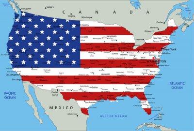 Nálepka United States of America velmi podrobně Politická mapa s národní vlajku.