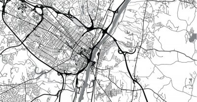 Nálepka Urban vector city map of Albany, USA. New York state capital