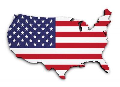 Nálepka USA Flag Map 3d Shape
