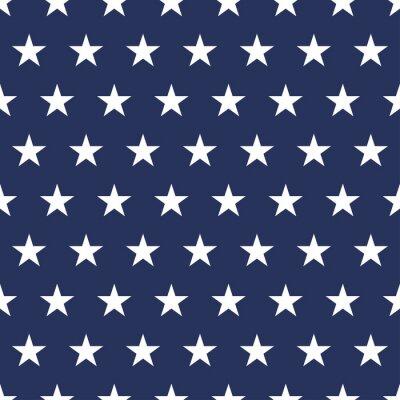 Nálepka USA flag seamless pattern. White stars on a blue background. Memorial day