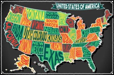 Nálepka USA Map Vintage Blackboard 2D