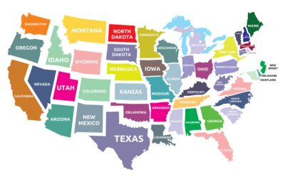 Nálepka USA mapa států