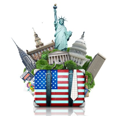 Nálepka USA, památek USA, kufr a New York