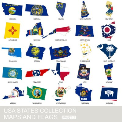 Nálepka USA state collection, maps and flags
