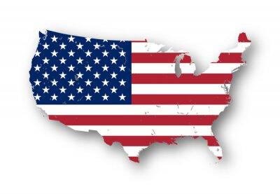 Nálepka Usnesení mapa Vysoká USA s americkou vlajkou. Můžete snadno odstranit stíny, nebo vyplnit do mapy v jiné barvě - ořezovou cestou zahrnuty.