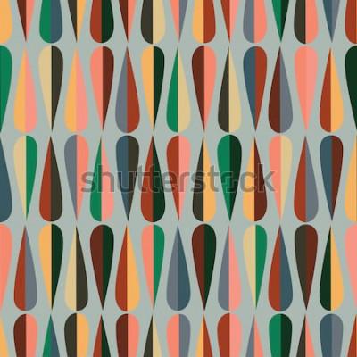 Nálepka V polovině století moderní retro vzor bezešvé s kapkou obrazce v různých barevných tónech, abstraktní opakující se pozadí pro všechny webové a tiskové účely.