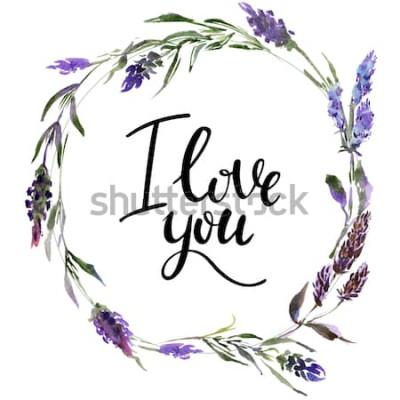 Nálepka Valentine květinový věnec. Akvarel květinové ilustrace s nápisem miluji tě
