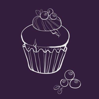 vanilkový muffin s borůvkami