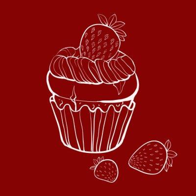 vanilkový muffin s jahodami