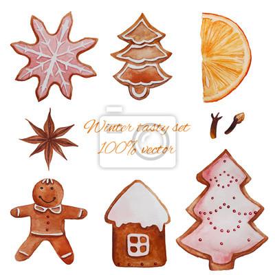 Vánoční cukroví set. Akvarel perník, badyán, mandarinka