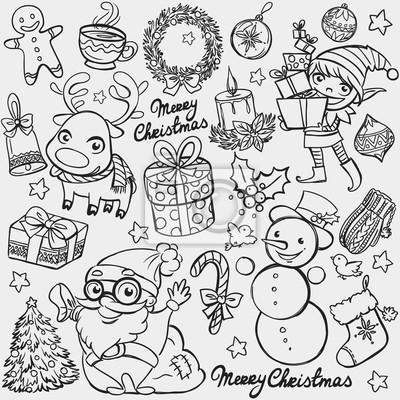 Nálepka Vánoční Doodle