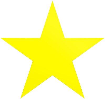 Nálepka Vánoční hvězda žlutá - jednoduchá 5 bodová hvězda - izolovaná na bílém
