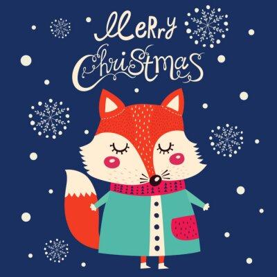 Nálepka Vánoční karta s roztomilou