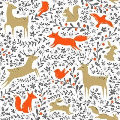 Nálepka Vánoční květinové lesní zvířata bezešvé vzor na bílém pozadí