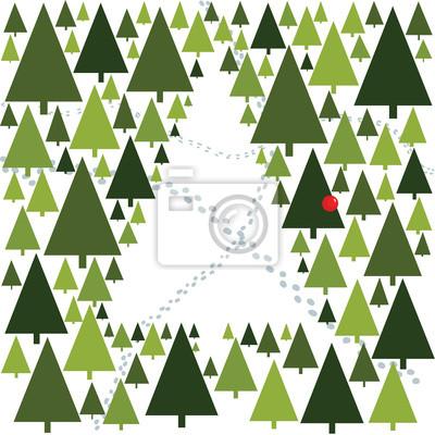 Vánoční strom, ekologie, odlesňování, karty, pozadí
