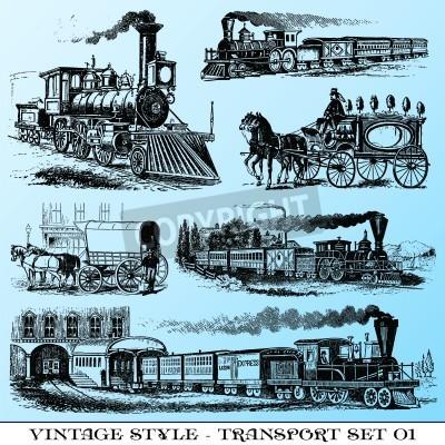 Nálepka various Vintage-style illustrations  - ancient transport set