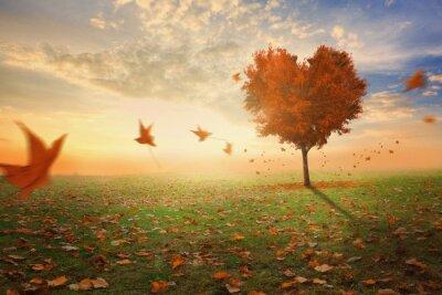Nálepka Ve tvaru srdce strom padá padá