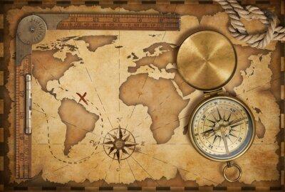 Nálepka ve věku mapu pokladu, pravítko, provaz a starý mosazný kompas s víkem