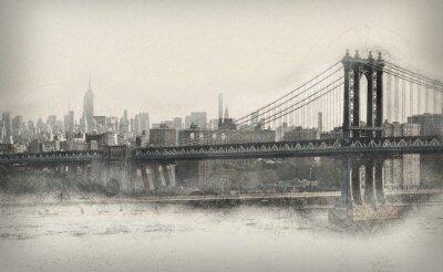 Nálepka Ve věku monochromatické panorama New Yorku