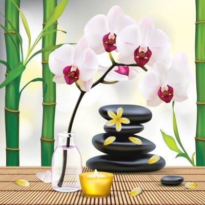 Nálepka Vector Beautiful Spa Složení zen kameny