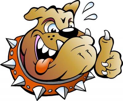 Nálepka Vector Cartoon ilustrace vzrušený Bull Dog dává palec nahoru