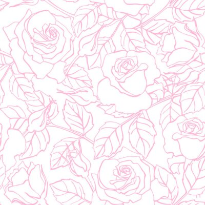 Nálepka Vector delicate line rose pattern.
