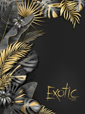 Nálepka Vector exotical background with black and gold tropical leaves on dark gray background. Luxury exotic botanical design for spa, perfume,cosmetics, aroma, beauty salon etc.