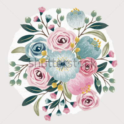 Nálepka Vector illustration of a beautiful floral bouquet with spring flowers for invitations and birthday cards