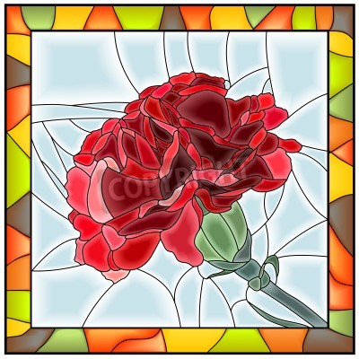 Nálepka Vector illustration of flower red carnation stained glass window with frame