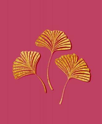 Nálepka Vector illustration of ginkgo biloba leaves. Background with golden leaves. Ginkgo branches for invitations