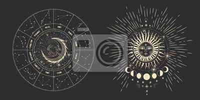 Nálepka Vector illustration set of moon phases. Different stages of moonlight activity in vintage engraving style. Zodiac Signs