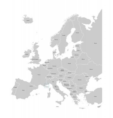 Nálepka Vector illustration with simplified map of Europe with blue contour of Monaco. Grey silhouettes, white outline of states' border
