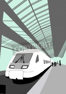 Nálepka Vector image moderní vysokorychlostní vlak na nádraží
