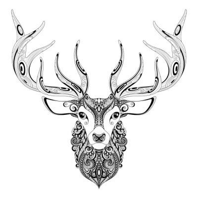 Nálepka Vector ozdobený rohatý Deer Head