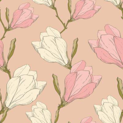 Nálepka Vector Pink Vintage Magnolia květiny Fabric Retro Opakování bezproblémové vzorek ručně kreslenými v botanické stylu. Ideální pro Fabric, tapety, obalová technika, zázemím, pohlednice.